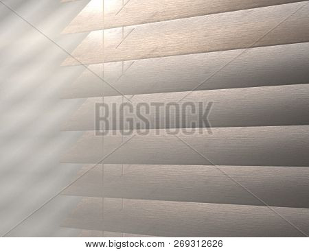 Texture Of Louver Or Jalousie, Sunlight Through The Jalousie Morning Fog 3d Illustration