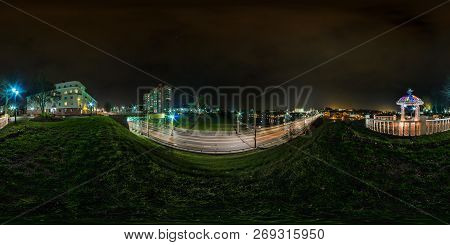 Full Seamless Spherical Night Panorama 360 Degrees Angle View On Street Old Town Near Bridge With Ca