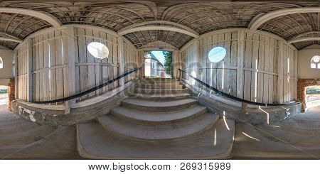 Full Seamless Spherical Panorama 360 Degrees Angle View In Wooden Tunnel With Concrete Staircase. 36