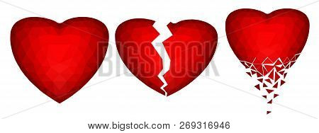 Set Of Three Abstract Polygonal Images Of Hearts - Vector