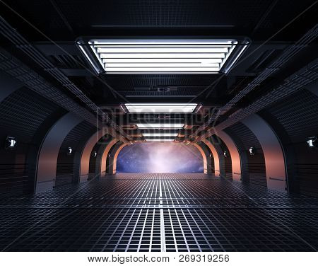 3d Rendering Space Shuttle Interior Or Cabin Inside