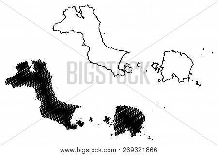 Bangka Belitung Islands (subdivisions Of Indonesia, Provinces Of Indonesia) Map Vector Illustration,