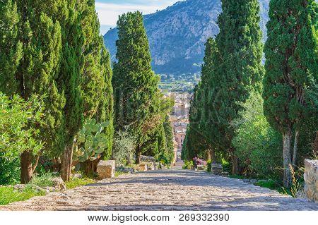 Long Stairway To The Calvary Of Pollenca On Majorca Spain