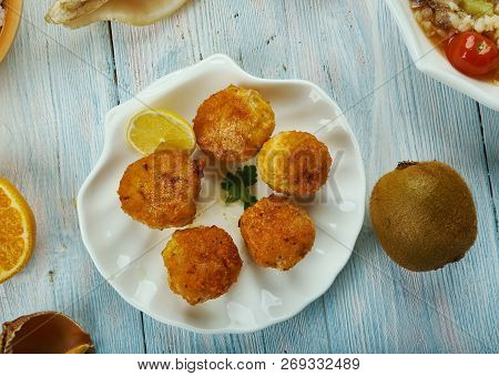 Creole Chicken Artichoke Balls, Creole Cuisine, Traditional Assorted Dishes, Top View.