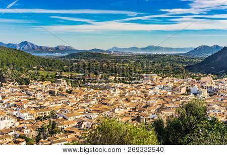 View Of The Old Town And Bay Of Pollenca On Majorca Island, Spain Mediterranean Sea