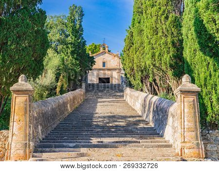 Long Stairway To The Calvary Of Pollenca On Mallorca Spain