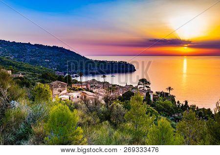 Idyllic Old Mediterranean Village With Sunset Sky On Mallorca, Spain Mediterranean Sea