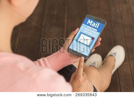 New Email Notification On Mobile Phone , Smartphone Screen With New Unread E-mail Message And Read M