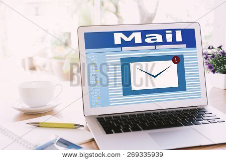 New Email Notification On Laptop , Laptop Screen With New Unread E-mail Message And Read Mail, Mail