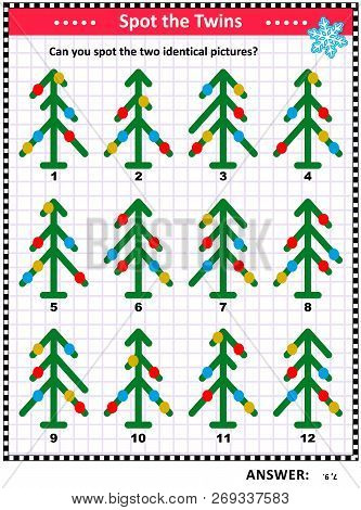 Winter Holidays, Christmas Or New Year Themed Visual Puzzle With Abstract Decorated Christmas Trees: