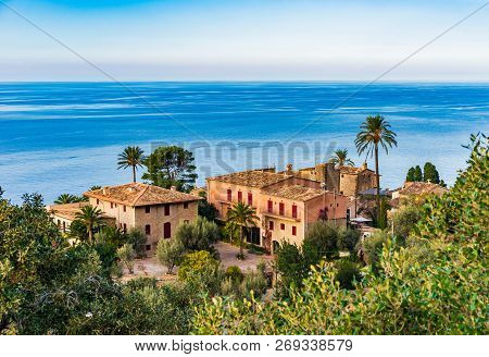 Idyllic View Of An Old Village At Deia On Mallorca, Spain Balearic Islands