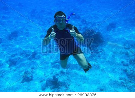 Man diving in Red Sea - Egypt poster