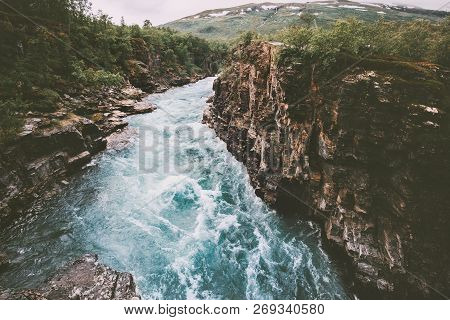 Sweden Landscape Canyon River Abiskojakka Travel Aerial View Abisko National Park Wilderness Nature