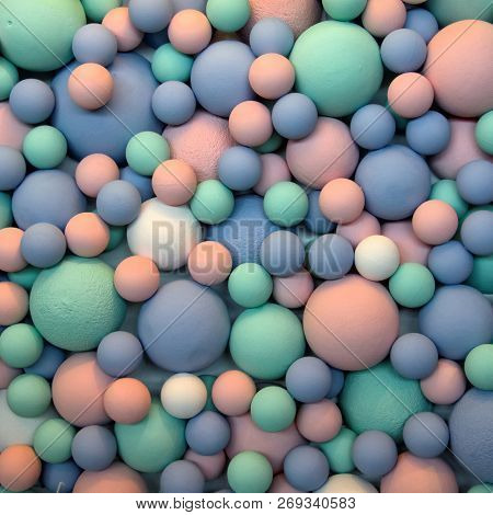 Beautiful Colorful Background Of Blue, Pink, Light Green And White Balls Of Different Sizes. Creativ
