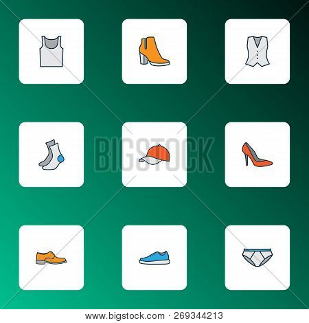 Garment icons colored line set with shoe, gumshoes, half-hose and other panties elements. Isolated vector illustration garment icons. poster