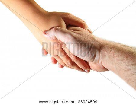 Man and woman hand shake