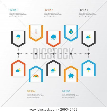 Air Icons Flat Style Set With Rainbow, Frost, Moon And Other Frosty Elements. Isolated Vector Illust