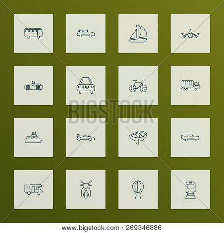 Transit Icons Line Style Set With City Car, Tram, Campervan And Other Bike Elements. Isolated Vector