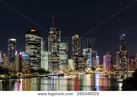 Brisbane, Australia - November 9 2018:  Brisbane City Nightcape Riverside View From Kangaroo Point B