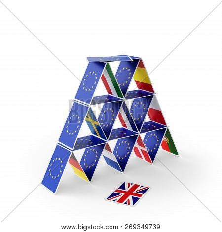 House Of Cards With Eu Flags. The British Card Has Fallen Symbolizing Brexit. 3d Illustration
