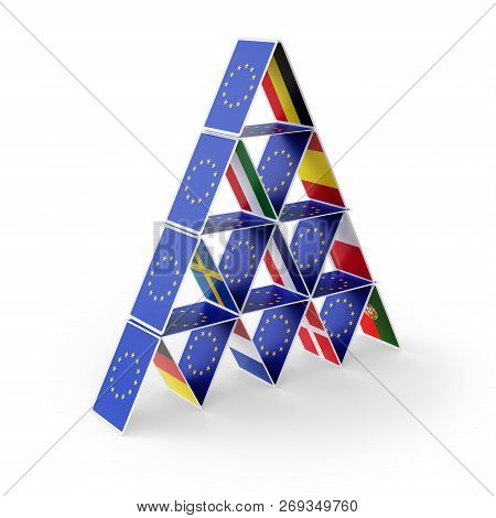 European Union House Of Cards With Country Flags. 3d Illustration