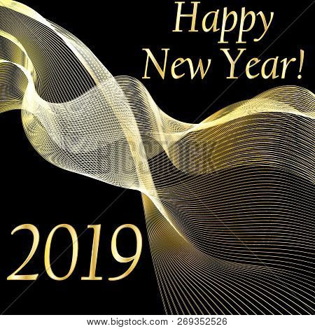 New Year 2019 Background With Gold Fluid Wave. Happy New Year Background. New Year Vector Illustrati
