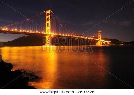 Glowing Golden Gate Bridge And Star Trails Behind