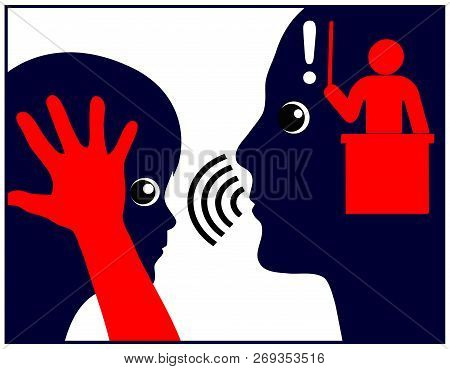 Fear Of Punishment. Parent Intimidates His Child Who Is Afraid Of The Consequences