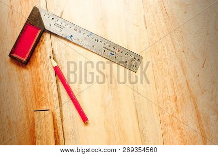 Try Square And Wood Pencil For Carpenter On Wooden Background Tool Woodcraft Object Isolated