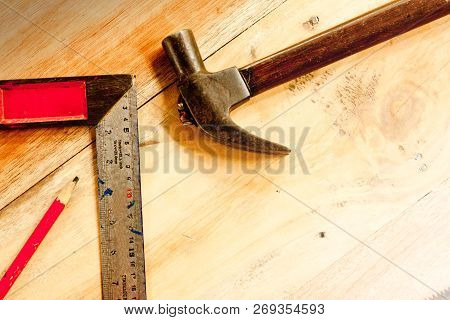 Solid Square And Wood Pencil And Hammer For Carpenter On Wooden Background Tool Woodcraft Object Iso