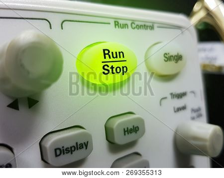 Run On Green Button On Electronic Equipment. Green Button, Concept Of Stratup.