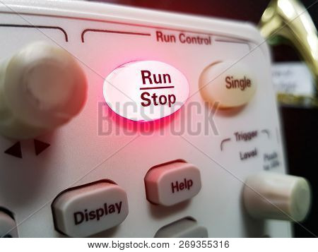 Stop On Red Button On Electronic Equipment. Red Button, Business Concept.