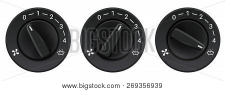 Car Dashboard Knob Switches. Auto Air Conditioners. Air Flow Level Selectors. Vector 3d Illustration