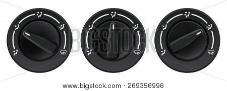 Car Dashboard Knob Switch Set. Auto Air Conditioner. Air Flow Direction Selectors. Vector 3d Illustr