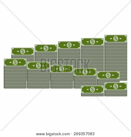 Money Dollars Icon. Vector Of Dollars Banknotes, Bundle Of Money. Stack Of Dollar Bills.