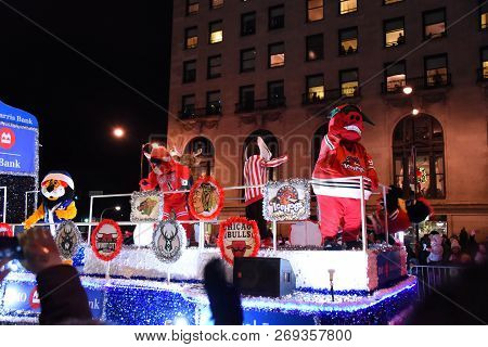 Chicago Area Local Sports Mascots On A Parade Float  In The Festival Of Lights Parade, Chicago, Il N