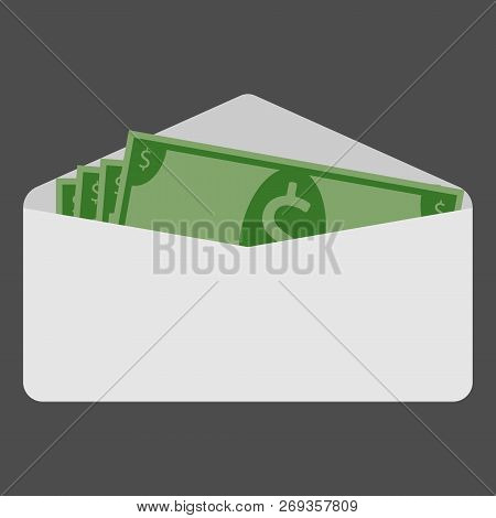 Money, Dollars In An Envelope. Vector Of Dollars In A White Envelope. Money, Bills, Dollars.