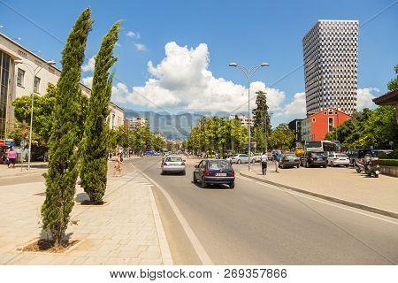 Tirana, Albania- 01 July 2014: Street Of New Tirana Town In Beautiful Sunny Day. Tirana Is The Capit