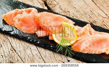 Smoked Salmon With Lemon And Dill Selective Focus.