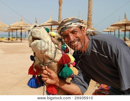 Bedouin and his camel portrait