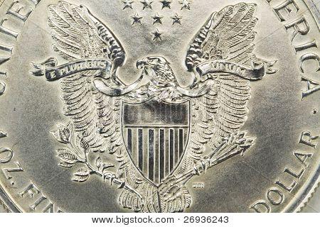 Silver one dollar coin reverse - macro