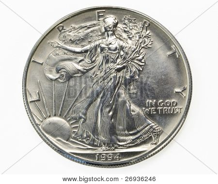 Silver one dollar coin macro