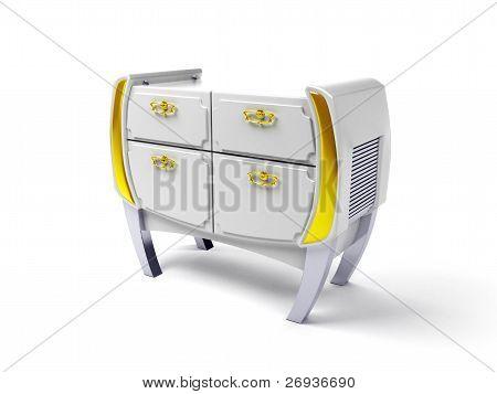 white modern commode
