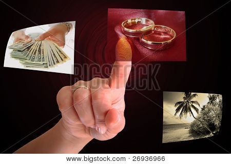 Woman hand choosing wedding rings - all pictures are coming from my gallery