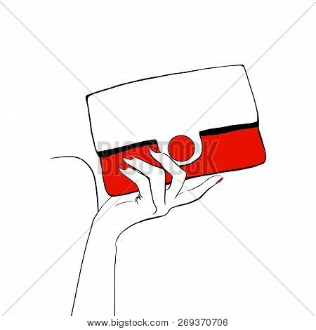 Fashion Illustration Women's Hand With Hand Draw Red Clutch Bag Sketch Style. Hand Drawn Trendy Sket