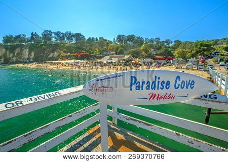 Malibu, California, United States - August 7, 2018: Famous Beach Of Paradise Cove Malibu With Turquo