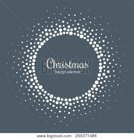 New Year 2019 Card Background. Snow Flake Circle Frame. Halftone Round Snowflake Dotted Frame. Chris