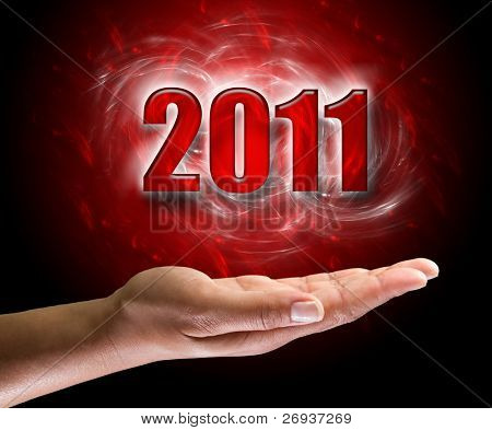 New year 2011 on female hand