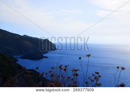 Mountainous Coast And Calmy Mediterranean In North Of Sardinia, From High Coast With Wide Views Over