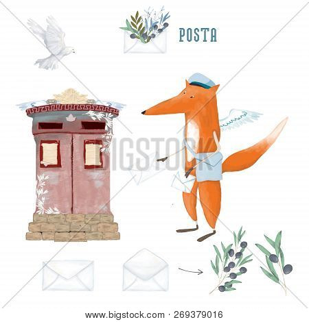 Cute Fox And Dove And Olive. Card. World Post Day, October 9, Illustration For World Post Day With P